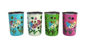 Handpainted stainless steel drinking cups