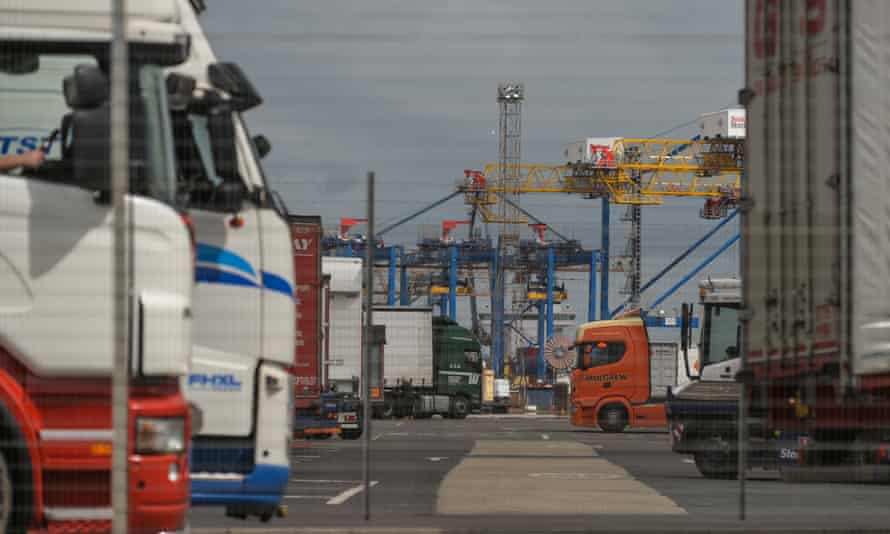 Lorries in the container terminal at Belfast port