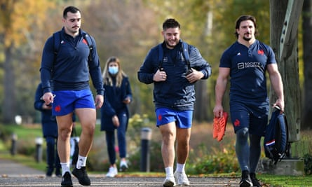 France's Jean-Baptiste Gros, Cyril Baille and Camille Chat after a training session on Friday in Marcoussis, south of Paris
