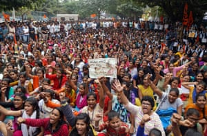 Hyderabad, India, People shout slogans during a protest against the rape and murder of a 27-year-old woman
