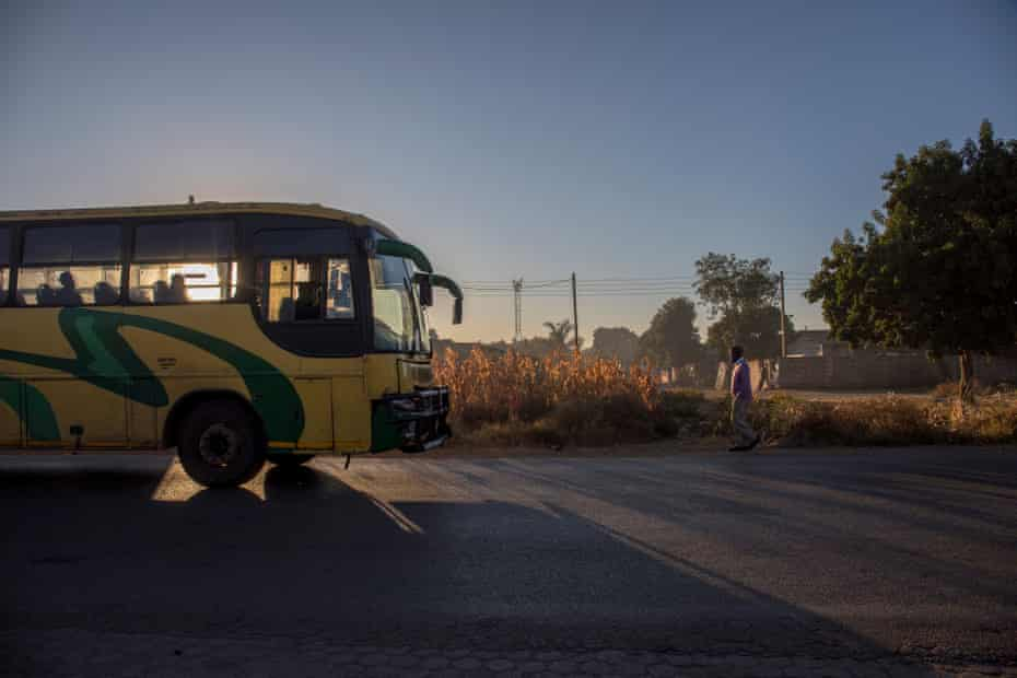A Zupco bus approaches a bus station in Glen View 8, Harare.