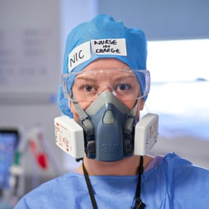 Nicola Rogers, an ICU sister, wearing the reusable face masks that became increasingly common during the first wave.
