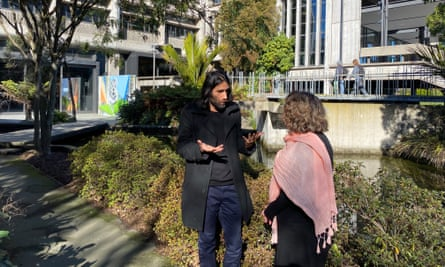 Behrouz Boochani with Catherine Moran at the University of Canterbury