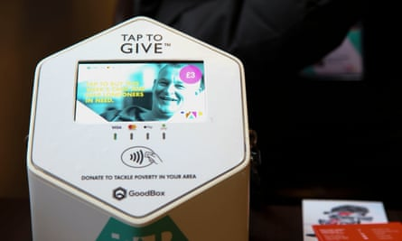 A contactless payment machine used by TAP London.