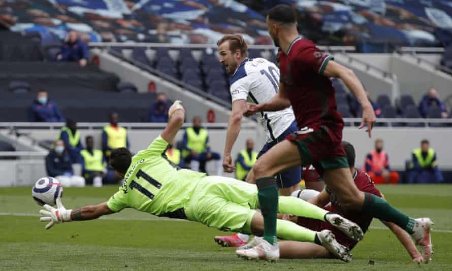 Harry Kane scores the opening goal for Tottenham against Wolves