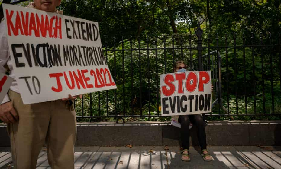 Protesters rally for an extension of the eviction ban in New York City on 11 August.