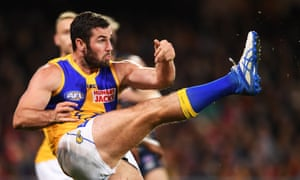 Jack Darling of the Eagles makes a late play for the Tayla Harris kick challenge.