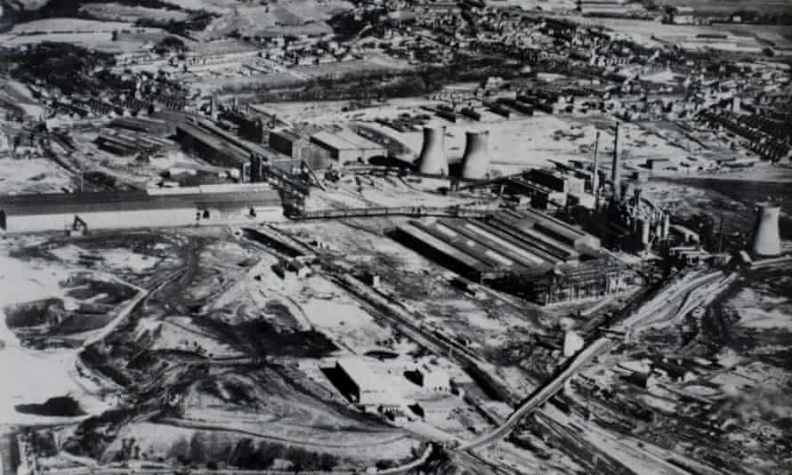 The steel mill at Consett, County Durham, with its surrounding slag heaps.