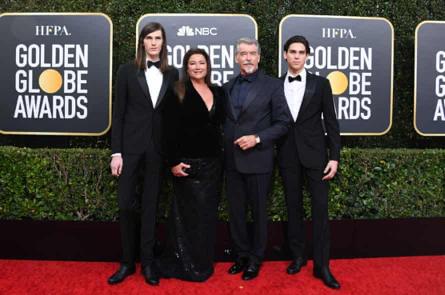 Brosnan with his wife, Keely Shaye Smith, and their sons Dylan (left) and Paris at the Golden Globes in january.