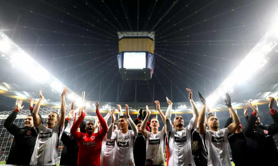 Eintracht Frankfurt's Kevin-Prince Boateng and team-mates applaud the fans after the 2-0 win over Gladbach.