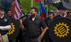 White nationalist Matthew Heimbach, who was captured on video roughing up a young black woman at a Donald Trump rally, speaks at the neo-Nazi rally