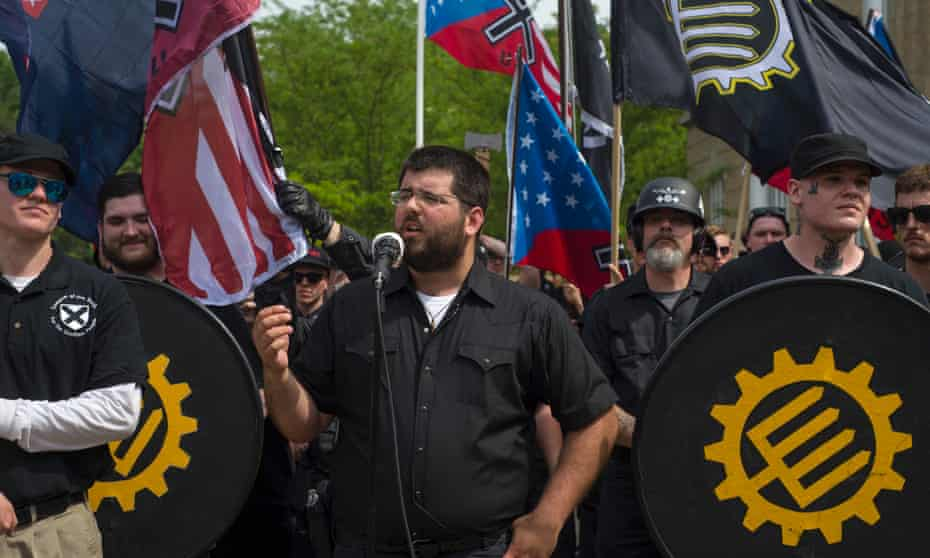 Matthew Heinbach speaks at a Traditionalist Worker party demonstration in Pikeville, Kentucky, on 29 April.