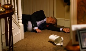Ken Barlow (Bill Roache) lies at the bottom of the stairs ... but who was at the top?