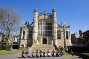 Household Cavalry march past St George's Chapel