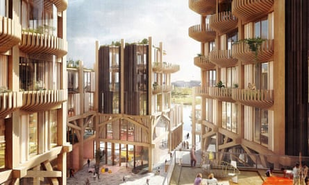 """A render of the waterfront development in Toronto being led by Sidewalk Labs, which aims to be """"the first-ever mass timber district in the world""""."""
