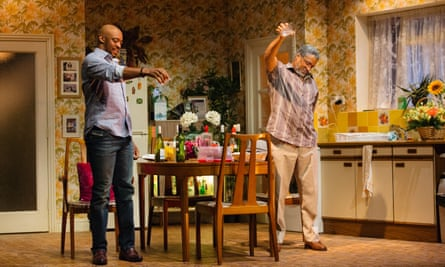 Oliver Alvin-Wilson as Robert and Ricky Fearon as Uncle Vince in Nine Night