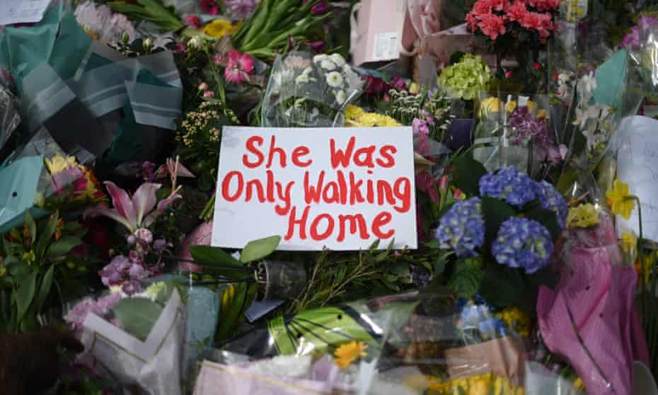 Messages and floral tributes to Sarah Everard on Clapham Common in March.
