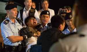 Protest leader Joshua Wong was arrested by police after climbing on the Golden Bauhinia statue – a present from the Chinese government celebrating the return of Hong Kong to mainland China in 1997 – during a protest on 28 June 2017