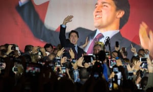 Justin Trudeau speaking in Montreal.