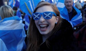A pro-independence supporter at the march.
