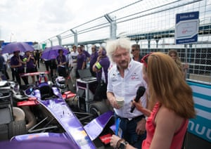 Sir Richard Branson gives an interview on the grid