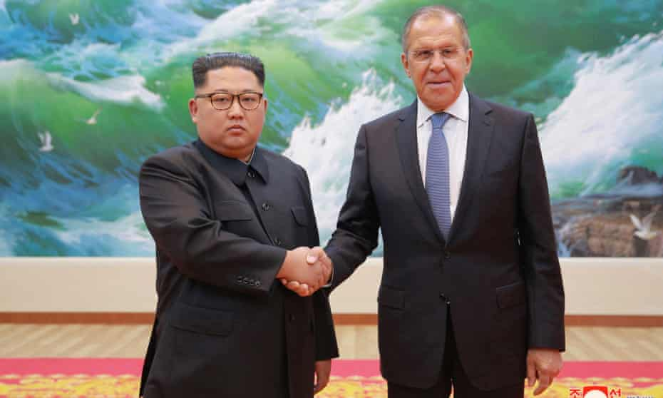 North Korean leader Kim Jong-un shaking hands with Russian Foreign Minister Sergey Lavrov