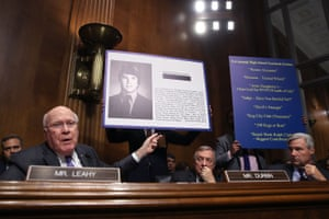 Senate Judiciary Committee member senator Patrick Leahy addresses Kavanaugh