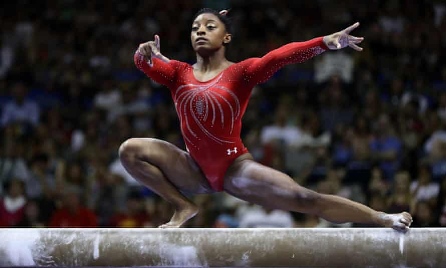 Simone Biles competes on the balance beam at the US Olympic trials in July.