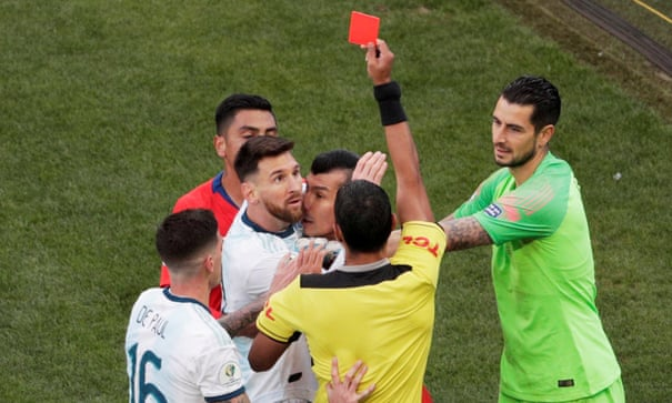 Image result for red card messi