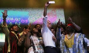 Macron takes a selfie