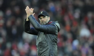 Liverpool manager Jürgen Klopp salutes the home crowd after Saturday's 3-0 win at Anfield.