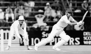 England batsman Geoff Boycott is watched by South Africa fielder Jimmy Cook during the first Test of the rebel tour in 1982.