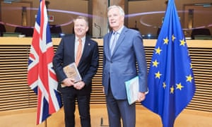 UK chief negotiator David Frost, left, with his counterpart from the European Union, Michel Barnier.