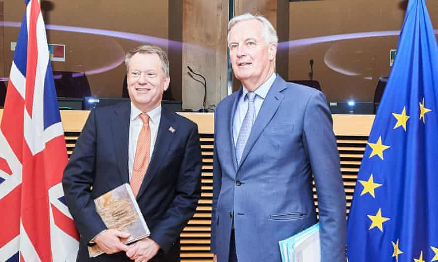 The UK's chief negotiator, David Frost, left, with his EU counterpart, Michel Barnier, before the coronavirus crisis took hold.