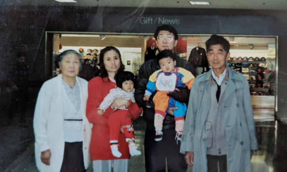 From left: Angela's grandmother, mother, father and grandfather at LAX airport in 1994. She and her brother are the two babies, on their way back to China to live with their grandparents for a time.