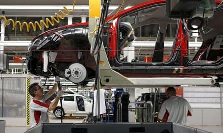 Car in Volkswagen factory