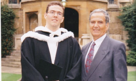 Kamal Foroughi with his son Kamran at Oriel College, Oxford, in 1998