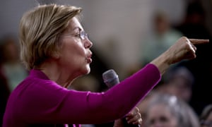 Elizabeth Warren speaks at a rally in Iowa on Saturday.