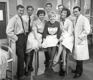 John Line, second from left, with the cast of Emergency Ward 10.