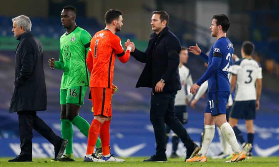 The Chelsea head coach Frank Lampard and his players after a goalless draw with Spurs.