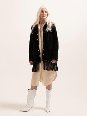 Model wears dress, £79, arket.com. Suede jacket, £579, and boots, £260, both gestuz.com.