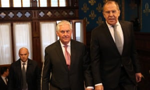 Rex Tillerson and Sergei Lavrov ahead of their bilateral meeting in Russia.