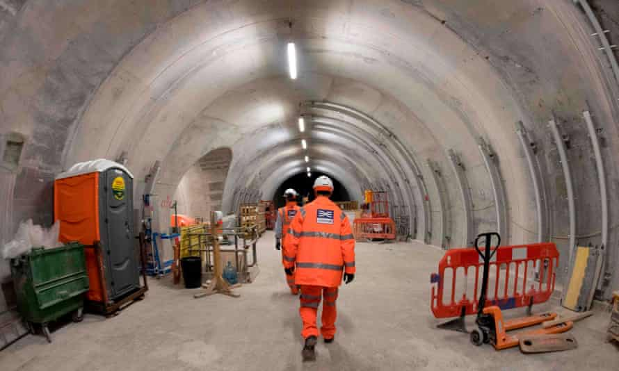 Crossrail workers in tunnel.