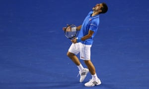 Novak Djokovic celebrates against Andy Murray in the 2015 Australian Open final. (Photo by Cameron Spencer/Getty Images)