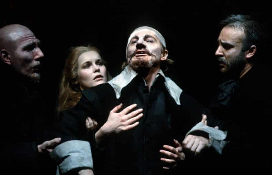 Derek Jacobi as Cyrano, with (from left) Pete Postlethwaite, Alice Krige and John Bowe in Cyrano de Bergerac at the Barbican in 1983.