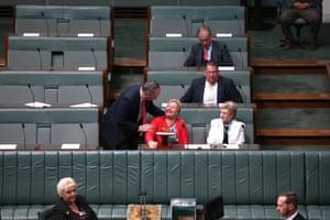 Barnaby Joyce greets Ann Sudmalis during the adjournment debate