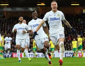 Pontus Jansson celebrates after scoring during Leeds' win at Norwich.