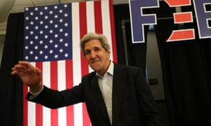 John Kerry arrives at a campaign event in support of Joe Biden in North Liberty, Iowa, on Saturday.