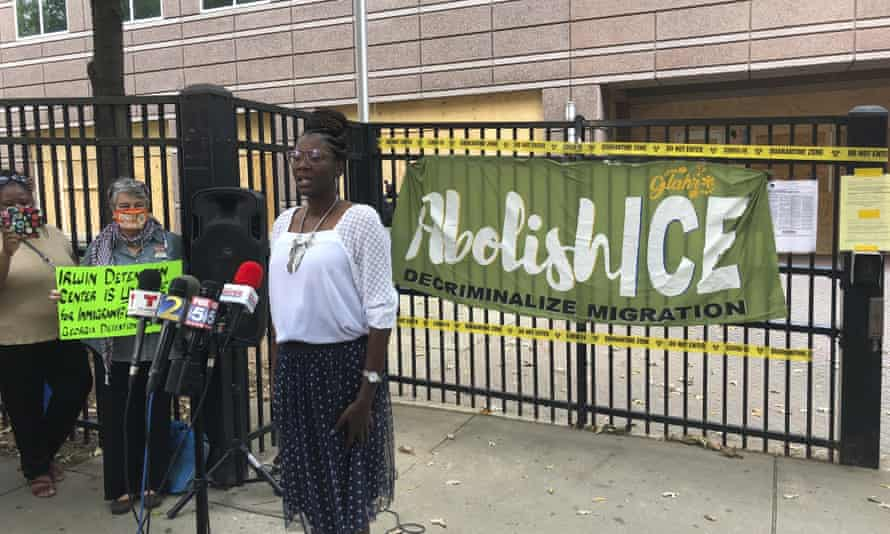 Dawn Wooten, the whistleblower former nurse at Irwin county detention center in Ocilla, Georgia, speaks at a news conference in Atlanta on Tuesday.