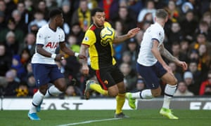 Watford's Troy Deeney causes problems for Serge Aurier (left) and Toby Alderweireld.